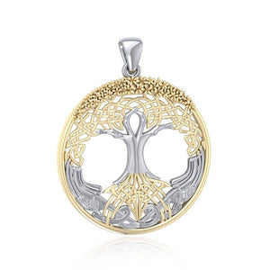 Behold the Magnificent Tree of Life ~ 14k Gold accent and Sterling Silver Jewelry Pendant MPD3544