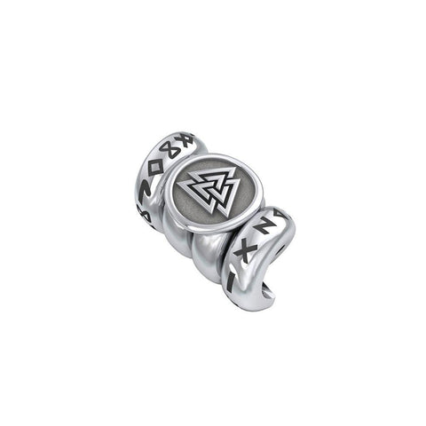 Norse Viking Valknut with Rune Symbol Silver Bead TBD362