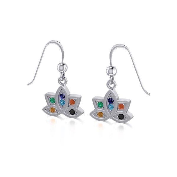 Lotus with Chakra Gemstone Silver Earrings TER1658