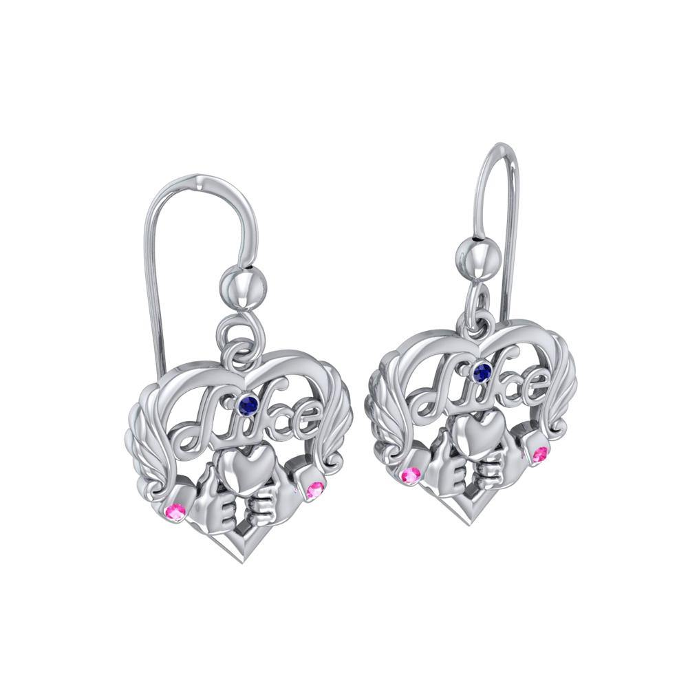 Be like yourself ~ Sterling Silver Like Icon Heart Earrings with Gemstones TER1709