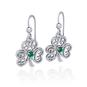 ABC Monogramming Shamrock Clover Silver Gemstone Earrings TER1720