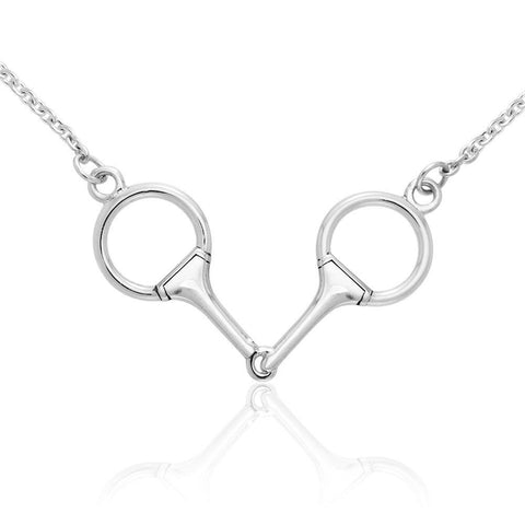 Eggbutt Snaffle Horse Bits Silver Necklace TNC206