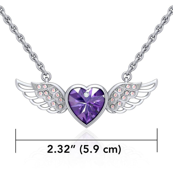 "Angel Wings Crystal Heart 18"" Necklace with White Aurore Boreale Crystal Wing"