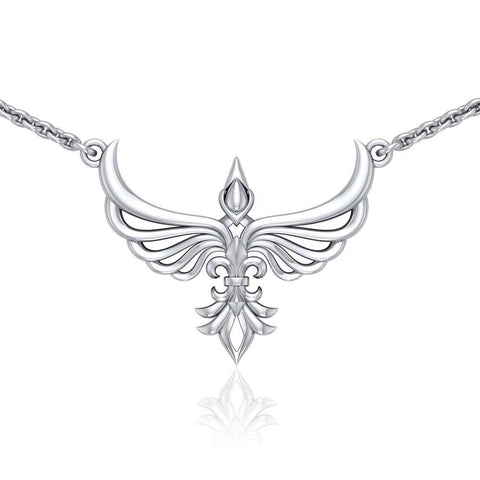 Phoenix with Fleur De Lis Sterling Silver Necklace TNC449