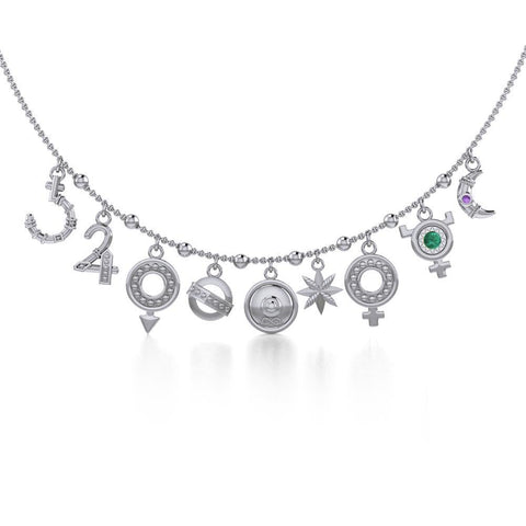 Alchemy of the Planet Silver Necklace with Gemstone TNC457