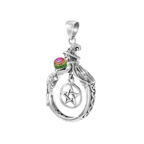 Sterling Silver Witch Pendant with Crystal ball TPD4857