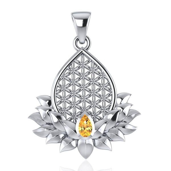 Flower of Life and Lotus with Gemstone Silver Pendant TPD4958