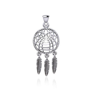 Follow you through your dreams ~ Sterling Silver Jewelry Dreamcatcher Pendant TPD5061
