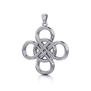 Celtic Four Point Infinity Knot Sterling Silver Pendant TPD5131
