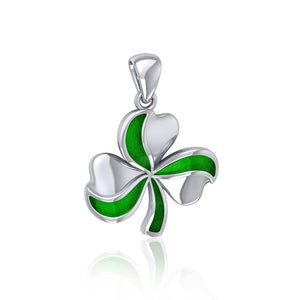 Lucky Shamrock Clover Silver Pendant with Enamel TPD5194