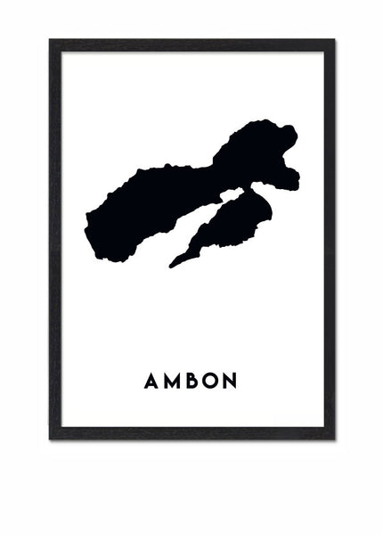 moluccan islands, moluccan, ambon, ambon island, ambon map, wallart, wallprint