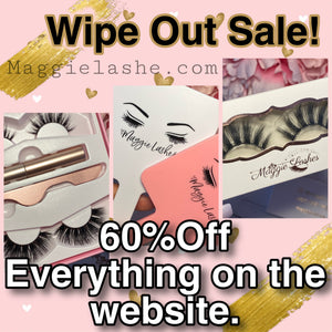 Wipeout Sale 60% off Everything on the website. All Faux mink Lashes on Sale.