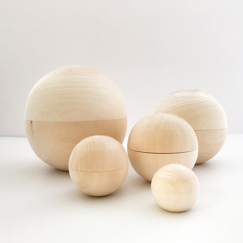 WOODEN NESTING BALLS - bpa free- Eco wood- design conscious-Dove and Dovelet