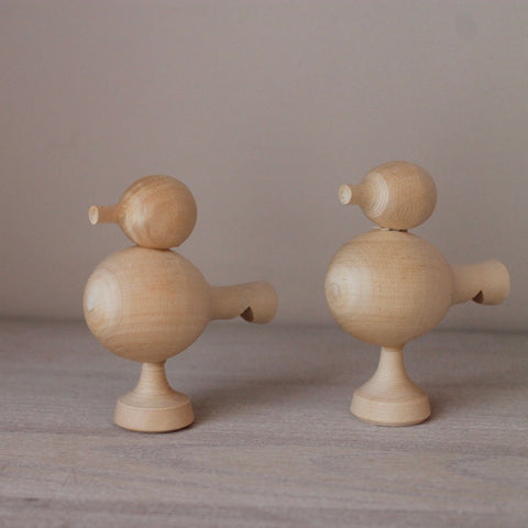 BIRD WHISTLE TOY - bpa free- Eco wood- design conscious-Dove and Dovelet