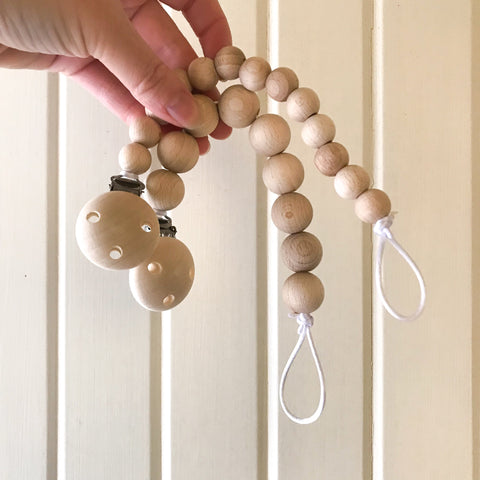 Thin Dummy/ Soother Clip- BPA fee - bpa free- Eco wood- design conscious-Dove and Dovelet