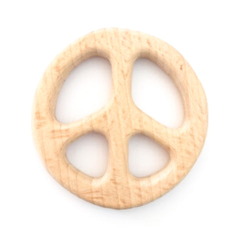 Wooden Peace Sign Teether - bpa free- Eco wood- design conscious-Dove and Dovelet