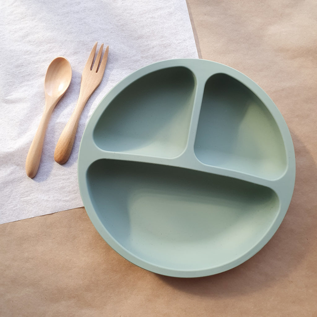 SILICONE DIVIDED PLATES assorted colours - bpa free- Eco wood- design conscious-Dove and Dovelet
