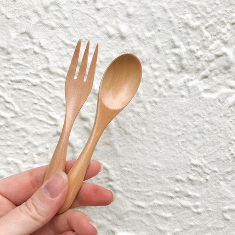 NATURAL WOODEN TODDLER CUTLERY SET - bpa free- Eco wood- design conscious-Dove and Dovelet