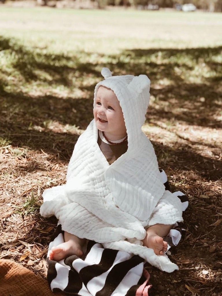 Organic Cotton Hooded Towel with Ears - bpa free- Eco wood- design conscious-Dove and Dovelet