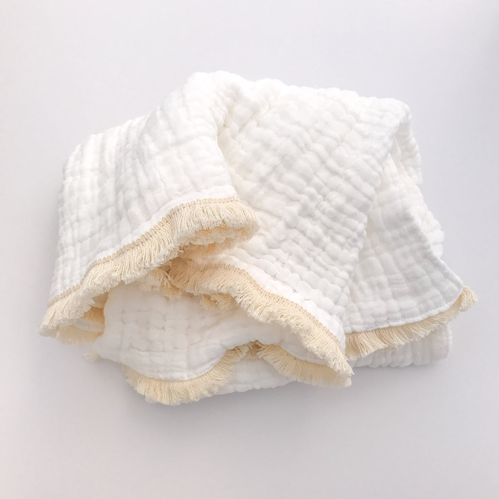 July preorder Fringed Organic Cotton Quilted Muslin Blanket - bpa free- Eco wood- design conscious-Dove and Dovelet