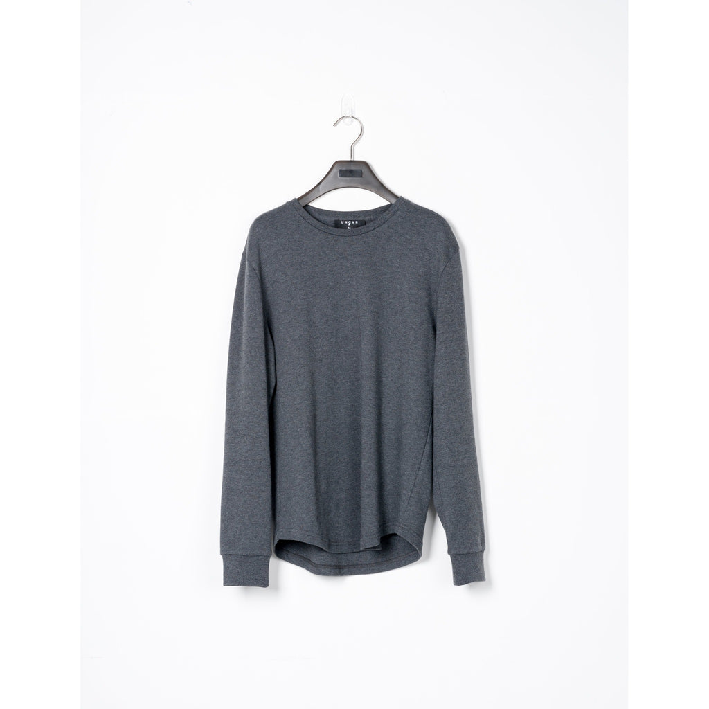 Charcoal Cotton Scalloped Long-sleeve Tee