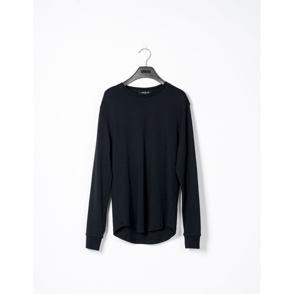 Black Cotton Scalloped Long-sleeve Tee