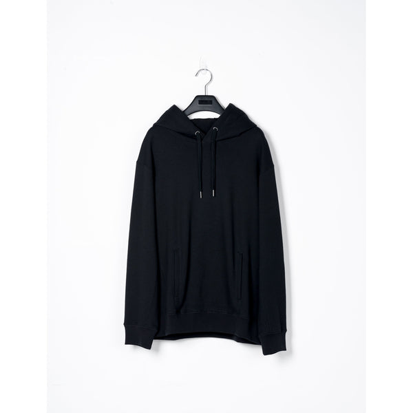 Black Cotton Pullover Hoodie