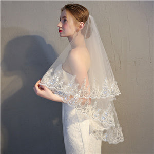Popular Tulle Wedding Veils Appliqued Lace Wedding Veils WV001