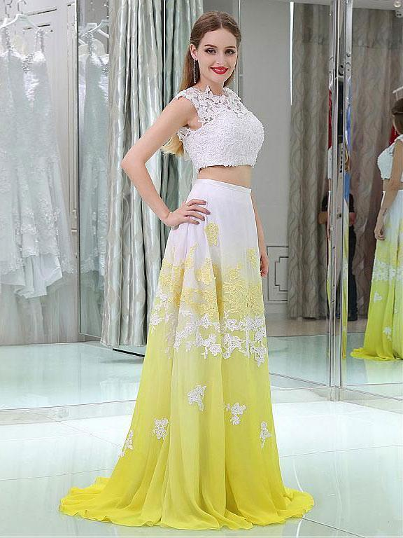 A-Line Scoop-neck Sweep Train Chiffon Appliqued Two Piece Prom Dress 3095