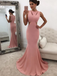 Trumpet/Mermaid Grecian Chapel Train Jersey  Prom Dresses 2856