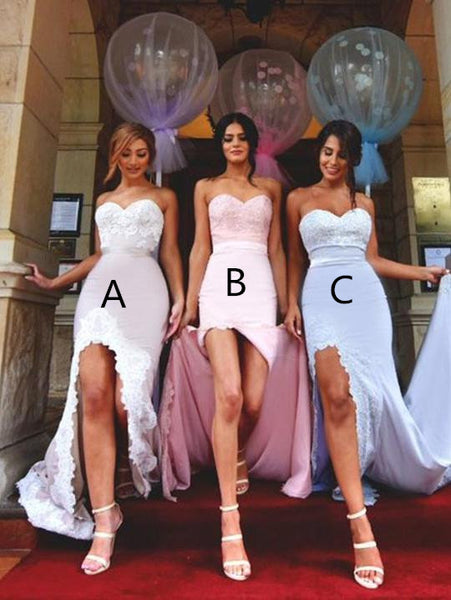 Mermaid Sweetheart Sweep Train Satin Appliqued Bridesmaid Dresses ASD2692