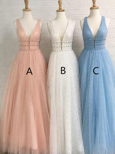 Shining Tulle V-neck Neckline Floor-length A-line Bridesmaid Dresses With Beadings BD013