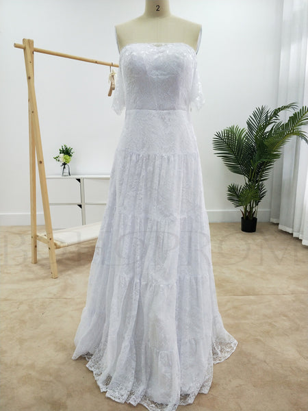 Modern Lace Off-the-shoulder Neckline A-line Wedding Dresses WD148