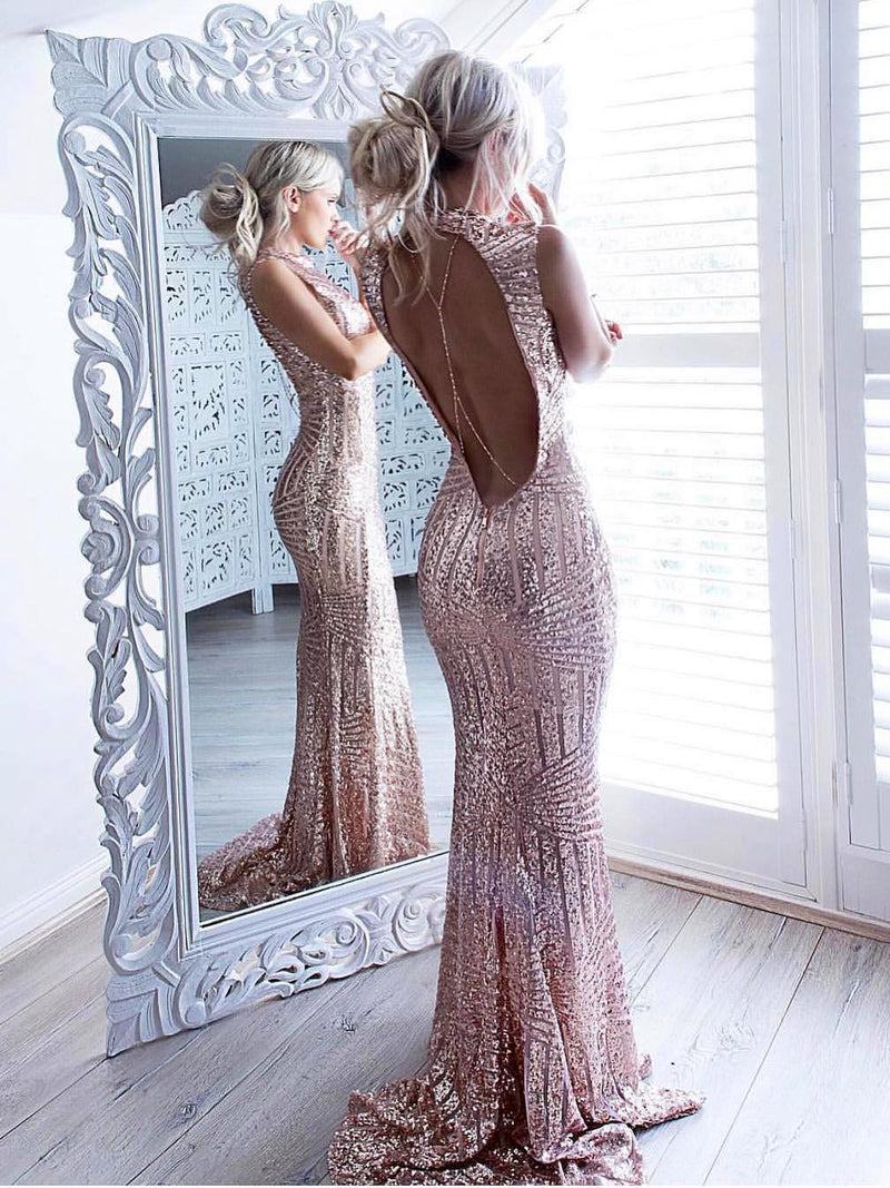 Sexy Sheath Prom Dresses Sequined Open Back Shining Evening Dresses PD252
