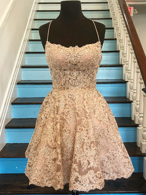 Exquisite Tulle Spaghetti Straps Neckline A-line Homecoming Dresses HD287