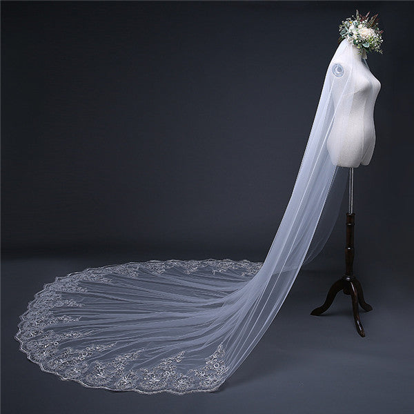 Elegant Sequined Tulle Wedding Veil Appliqued Cathedral Train WV002