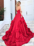 A-line  Sweetheart Chapel Train Taffeta Ruffles Quinceanera Dresses 2843