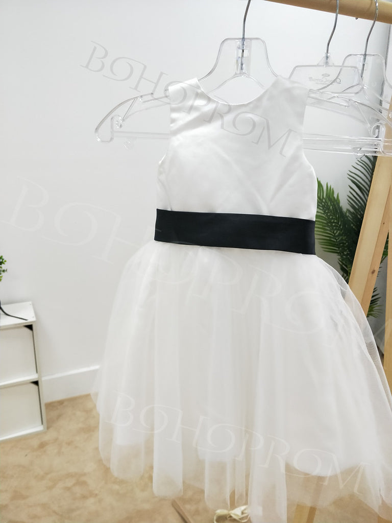 Modest Satin & Tulle Jewel Neckline Tea-length A-line Flower Girl Dresses FD006