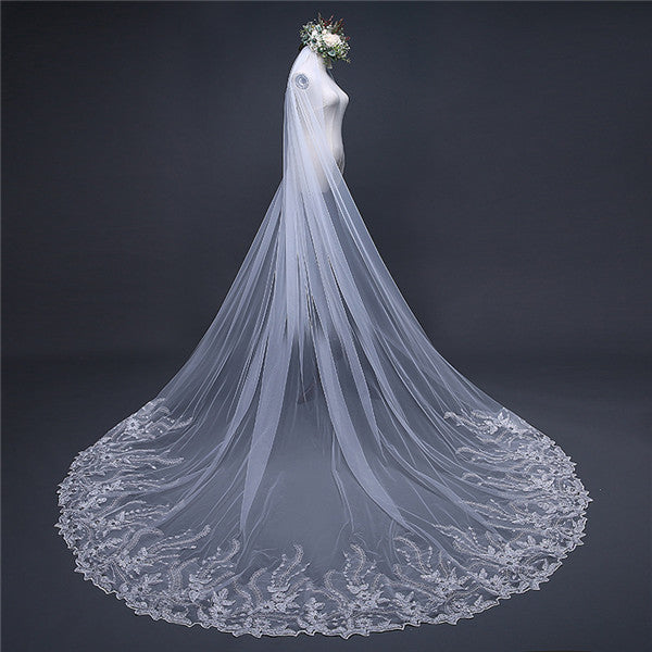 Brilliant Sequined White Wedding Veil Tulle Appliqued Veil WV003