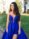 Gorgeous Satin Spaghetti Straps Ball Gown Prom Dresses 3348