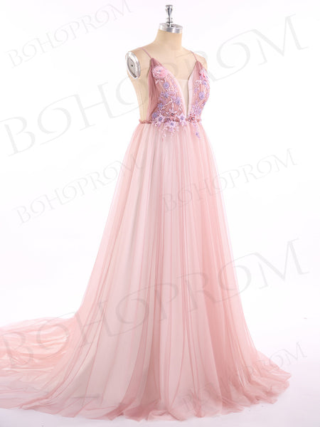 A-line Spaghetti Strap Floor-Length Tulle Appliqued Prom Dresses ASD2654