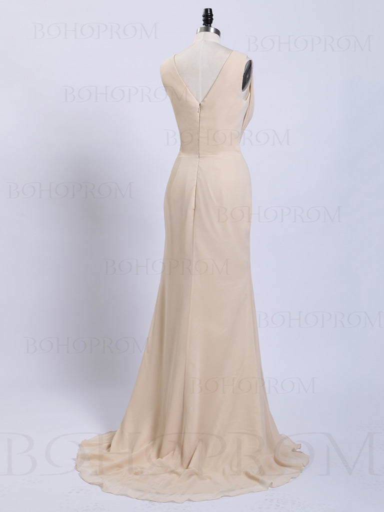 Simple Chiffon V-neck Sweep Train A-line Bridesmaid Dresses With Slit BD119