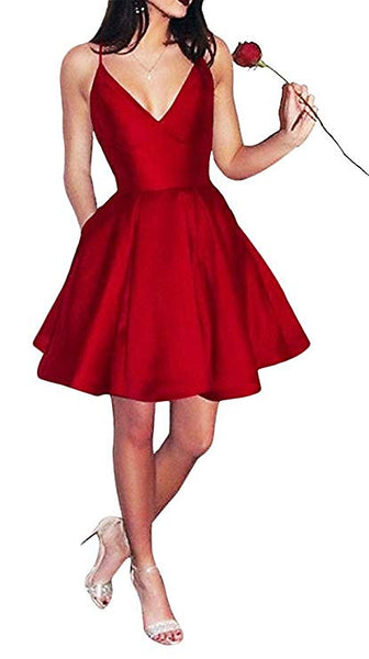 A-line Spaghetti Strap Mini Satin Simple Burgundy Homecoming Dresses AHC0001
