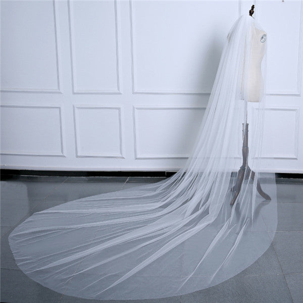 Simple Tulle Cathedral Train Wedding Veil WV004