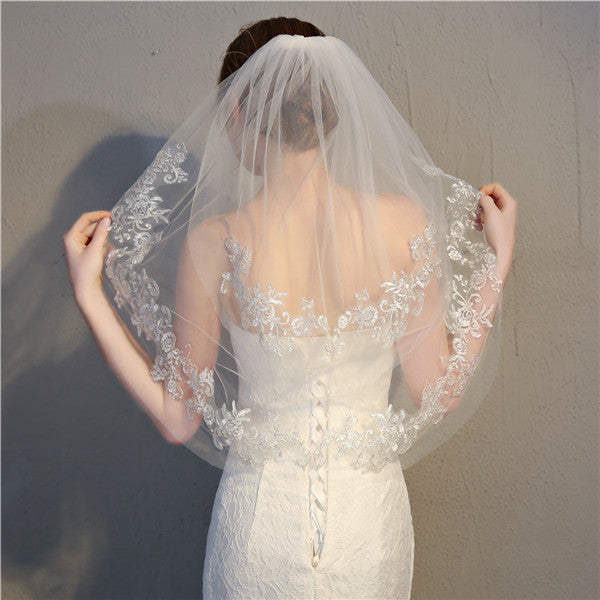 Pure Wedding Veil Double Layers Tulle Wedding Veil With Appliques WV005