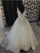 A-line V-neck Floor-Length Tulle Wedding Dresses With Sequins HX0066