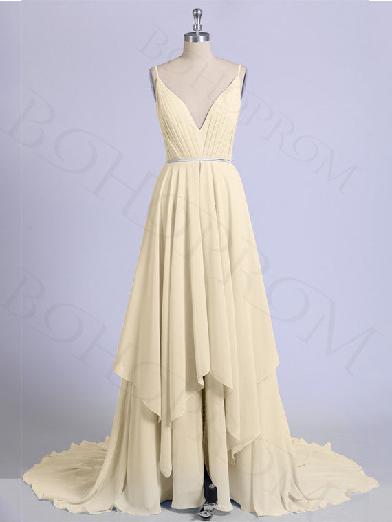Stunning Chiffon Prom Dresses A-line Spaghetti Straps With Slit PD234