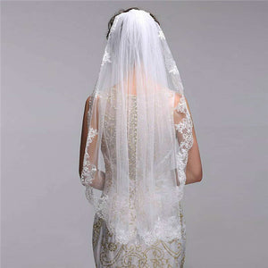 Charming Tulle Wedding Veil With Appliques WV006