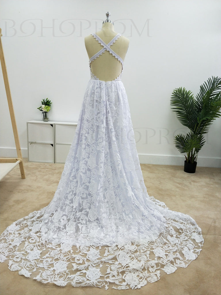 Romantic Lace Halter Neckline A-line Wedding Dresses With Appliques WD019