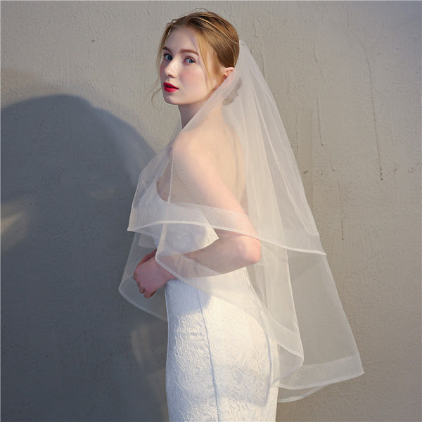 Simple Tulle & Net Wedding Veil With Double Layers WV007